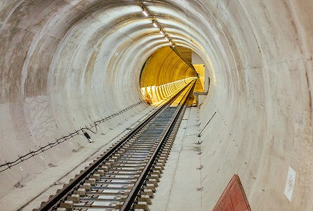 A view looking down a Crossrail tunnel in London