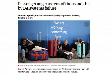 Guardian article on BA system error