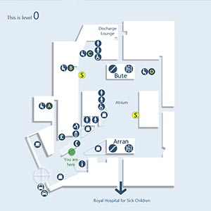 A map showing wayfinding directions for useful amenities and rooms