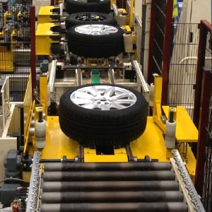 A car tyre with on tyre handling machine.
