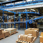 Packing boxes on pallets beside a gravity conveyor in a factory